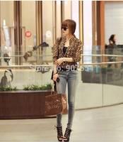 Hot Sell Free Shipping Korean Version of the Cool Wild Leopard Collar Lining Long-sleeved Chiffon Shirt Women T-shirt