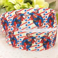 free shipping 7/8'' 22mm superman series printed grosgrain ribbon clothing accessory Bow Material Gift Wrap ribbon10 yards