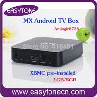 Free shipping Google Android Smart media player AML8726-M6 dual core TV Box RAM 1GB ROM 8GB wifi HD tv box xbmc pre-installed