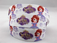 2014 new arrival 7/8'' (22mm) sofia the first printed grosgrain ribbon cartoon ribbon for girls wholesale 50 yards