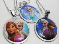 100pcs/lot Frozen Stainless Steel Pendant Necklaces Wholesale  Children Fashion Jewelry Lots