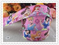 2014 new arrival 1'' (25mm) princess printed grosgrain ribbons cartoon girl ribbon hairbow  wholesale 50 yards