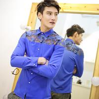 Free shipping! 2014 new men's fashion sexy lace long-sleeved shirt Slim