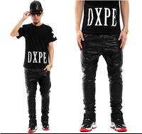 Hot Top Quality 2014 Men's Leather Pants Jogger Original Side Zipper Design Pu Classic Trouser Hiphop Slim Pants