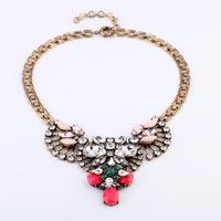 2014 New best wholesales Fashion women Western statement elegant Punk Rinestones choker Pendant Chain necklace jewelry