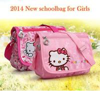 2014 New arrived Leisure shoulder bag High quality Jacquard babric Cartoon Printed school bag for girls Hellokitty messenger bag