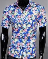 Wholesale trade purchasing essential EBAY Hot Summer Floral Trendy men's short-sleeved shirt