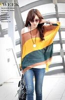 2014 New Stylish Bohemian Colorful Broad Stripe Print Loose Causal Style Fit Batwing Sleeve Blouse For Women In Summer