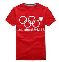 2014 New Hot Pattern Men's T-shirt Russia Sochi Olympics Rings Flourishing Snow Tops Sport Shirts DK001