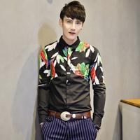 Free shipping! 2014 new men's fashion decorative foliage chest long-sleeved shirt Slim