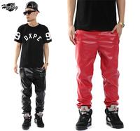 Hot Top Quality 2014 Men's Leather Pants Jogger Black Red Zipper Design Pu Classic Trouser Hiphop Slim Pants