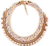 New Brand Big Braided Rope Statement Women 2014 Necklaces & Pendants Chunky Shourouk Fashion Vintage Choker Jewelry Wholesale