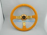 Free Shipping 2014 new personalized MOMO racing steering wheel modified / full yellow nubuck leather steering wheel feel good