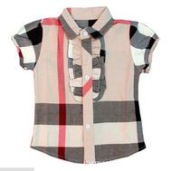 2-6yrs baby girls plaid shirt Children checked shirt clothing New 2014 Kids Fashion t shirt brand summer Short sleeve shirt 873