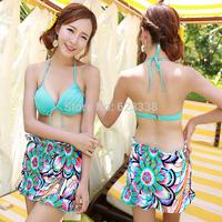 summer 2014 NEW sexy Push Up bathing suit 3 piece floral bikinis swimwear women bra set Cover-Ups swim Bikini swimwears swimsuit