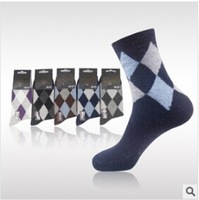 Wholesale NEW FREE SHIPPING Wool warm winter men's business socks rhombus split joint 5 pairs=a lot men's winter Socks