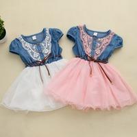 4pcs/lot New 2014 Children Clothing Girls yarn dress Denim Lace dress For Baby Girl Casual Summer Dress