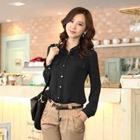 Hot Sale Summer Black Chiffon Tunic Long Sleeve Plus Size Women Brand Blouses  Appliques Pocket For OL Work Wear Brand New Shirt