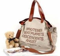 New 2014 Letter Casual Canvas Bag Women's Messenger Bags Women Handbag Lady Shoulder Beach Bag Factory Price Free Shipping