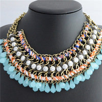 \New Arrival 2014 Hot Sale Multi Layer Neon Ribbon Wrapped BIB Woven Necklace Acrylic Statement Necklaces free shipping