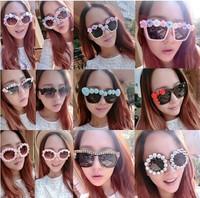 2014 New Fashion women Sunglasses with pearl flower all style pupular for beach travel Eyeglasses star brand designer Sunglasses