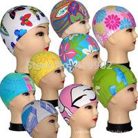 1/Pcs Stylish Flexible Light Durable Sporty Lycra Swim Swimming Cap Bathing Hat printing Hot 2014