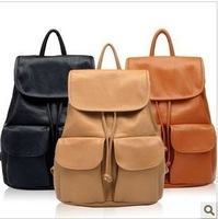 2014 hot sale vintage women backpack PU leather school bag tassel bucket casual travel bags for girl 2 colors free shipping