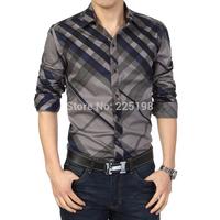 Famous Luxury Brand Men's Shirt Plaid Checker Men Clothing Blouses Long Sleeve 2014 Top Quality Big Size M-6XL