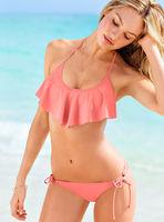 2014 New Hot!! New Ruffled Trim Bandeau Top with Covered Panty Bikini Swimwear Women Summer Clothing Set Swimsuit