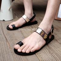 2014 new fashion designer brand genuine leather sandals for men gold metal shoes