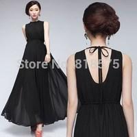 summer dress 2014 new desigual black long maxi dress,high waist spaghetti strap vintage backless sexy elegant women dresses,S-XL