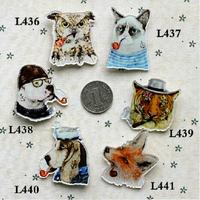 (min mix order is $10) Free shipping 2016 New Harajuku Brooch Personalized funny smoking animals tiger cats and dog badge brooch