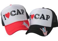 20pcs/lot Free Shipping I LOVE CAP letters truck cap Mesh hat Sun hats Snapbacks caps, hat circumference 56--60cm 3 color