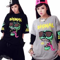 Harajuku Loose Large skull Women Short-sleeve T-shirt new 2014 Fashion Women t-shirt Sport Punk