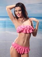 2014 New push up bathing swimsuit ruffle bikini underwire cups swimwear Ruffles Beach Sexy Bikini Swimwear Set Bathing Suits