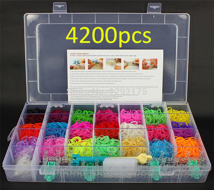 Family Kits DIY Loom Bands Rubber Twistz Wrist Bands Bracelet (4200 bands 100 clips 6 hook 1 loom 12 pendants) 1PCS(China (Mainland))