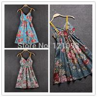 Hot-Selling V-Neck High Waist Floral Print Spaghetti Strap Beach Cotton Dress Summer Suspender Dress DRE-001