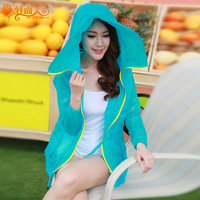 Sun protection clothing female summer medium-long anti-uv thin outerwear long-sleeve with a hood plus size