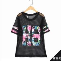 t shirt women 2014 Short-sleeve Women Loose Perspectivity o-neck short-sleeve harajuku shirt loose tops European style