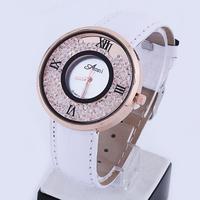 Electronic 2014 New Fashion Women Rhinestone Watches Quartz Analog Women Dress Watches Leather Strap Watches