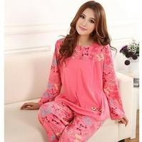 Women Long Sleeve Pajamas Set Cotton Nightwear Bow Sleepwear Casual Home Night Wear Clothes M-XXXL Plus Size Pajama