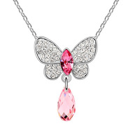 2014 Hot Sale Rushed Freeshipping Trendy Women Pendant Necklaces Rhinestone Insect Jewelry Austrian Necklace - Butterfly Tears