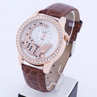 Electronic 2014 New Crocodile Surface Fashion Women Rhinestone Watches Quartz Analog Women Dress Watches Leather Strap Watches