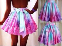 2014 new fashion multicolour candy color high waistIrregular galaxy sexy wishful thinking skirt Free Shipping #S002