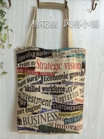 2014 New shopping bag Letter Printing bags fashion cotton flax