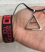 Set 30 Seconds To Mars Triad Triangle Necklace and Silicone Wristband Bracelet  Free shipping