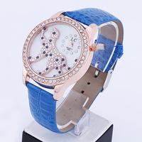 Electronic 2014 New Leopard Surface Fashion Women Rhinestone Watches Quartz Analog Women Dress Watches Leather Strap Watches