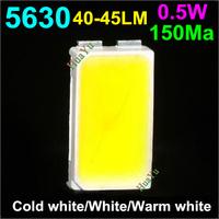 200pcs/lot SMD 5630 0.5W 45-50lm Cold white/White/WarmWhite Light SMD 5630 LED 3.0~3.6V LED chip bead Free shipping