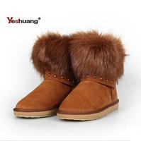 Free shipping! new fashion leather arrive keep warm fur snow boots female ceruminous all-match boots winter XD001