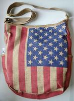 fashion American flag US flag men messenger bag cotton flax Student cloth Linen bag